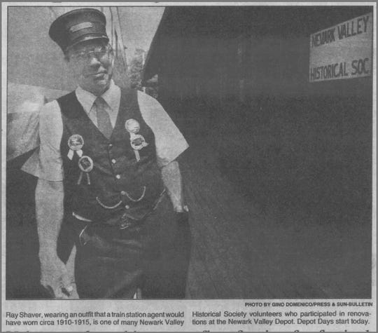 In 1996, Ray Shaver is shown wearing an outfit a train station agent would have worn around 1910, at the Newark Valley Depot.