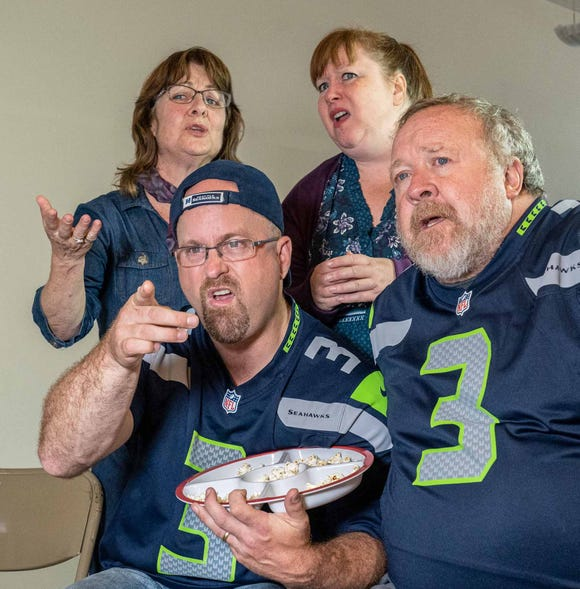 """Marybeth Redman (clockwise from top left), Kristi Jacobson, Pete Simpson and Tyler Weaver in Robert Craighead's play """"Rose Bowl."""""""