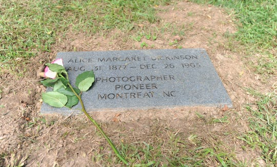 A grave marker for Montreat photographer Alice Margaret Dickinson, who is buried in Asheville's Riverside Cemetery.