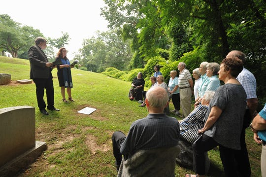 A service in Riverside Cemetery on Aug. 1 honored the lives of Alice Margaret and Helen Louise Dickinson, two sisters who lived in Montreat in the early 20th century.