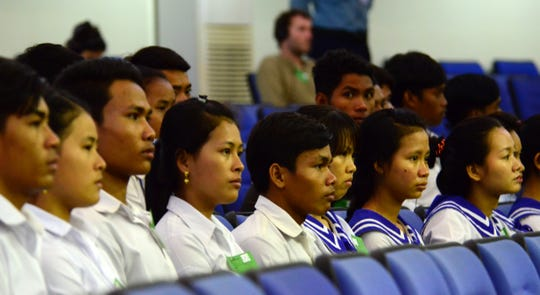 Cambodian students in the audience gallery at the pronouncement of the Judgement in Case 002/02 on 16 November 2018 at the Extraordinary Chambers in the Courts of Cambodia.