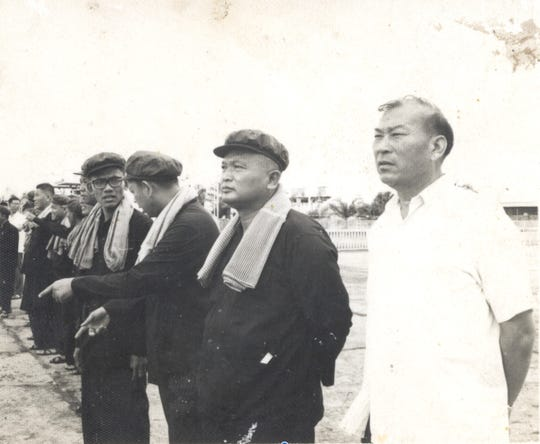 An undated photograph shows from right to left, general Deng Khun Sen, Nuon Chea, Ieng Sary, Son Sen, all senior leaders of the Khmer Rouge.