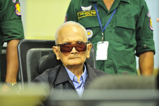 Nuon Chea at the pronouncement of the Judgement in Case 002/02 on 16 November 2018 at the Extraordinary Chambers in the Courts of Cambodia.