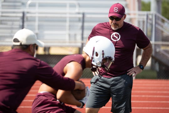 Sinton High Schools new head football coach Michael Troutman during the first day of football practice at Sinton High School on Monday Aug. 5, 2019.