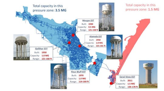 A map of current water towers in Corpus Christi.