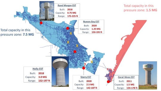 A map of future water towers in Corpus Christi.