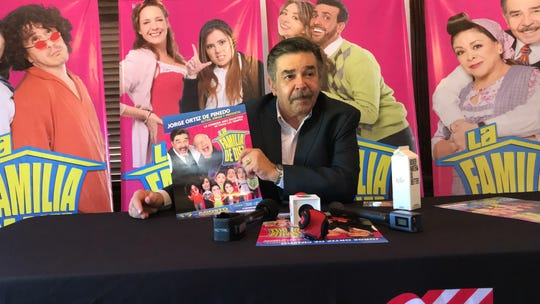 """Jorge Ortiz de Pinedo, a Mexican actor, addresses media about his Spanish-language play """"La Familia de Diez"""" on Monday, August 5, 2019. The play will be performed at the Selena Auditorium on August 17, 2019."""