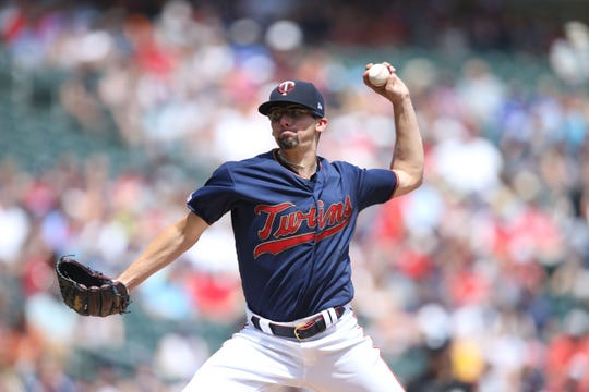 Aug 4, 2019; Minneapolis, MN, USA; Minnesota Twins starting pitcher Devin Smeltzer (31) delivers a pitch against the Kansas City Royals during the first inning at Target Field. Smeltzer, a Bishop Eustace Prep grad, spun six shutout innings for his first MLB win.