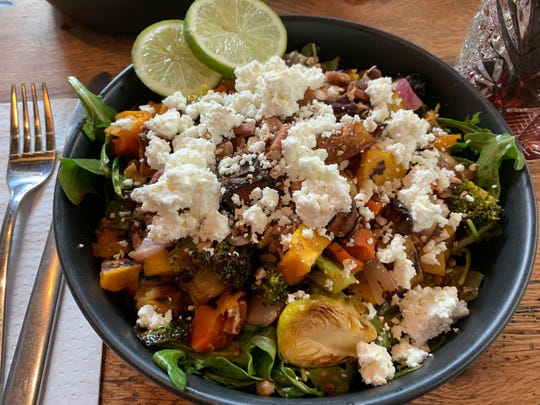 The Mercado Ensalada at Central Taco & Tequila in Westmont is a blend of roasted blend of Brussels sprouts, butternut squash, potatoes, carrots, red onion and broccoli with farro, arugula, goat cheese, toasted pecans in a chipotle balsamic vinaigrette.