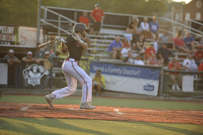 Colin Shepherd hits a ball in a 6-2 loss to Danville on Aug. 4, 2019. The Paints defeated the West Virginia Miners 14-6 on Tuesday.