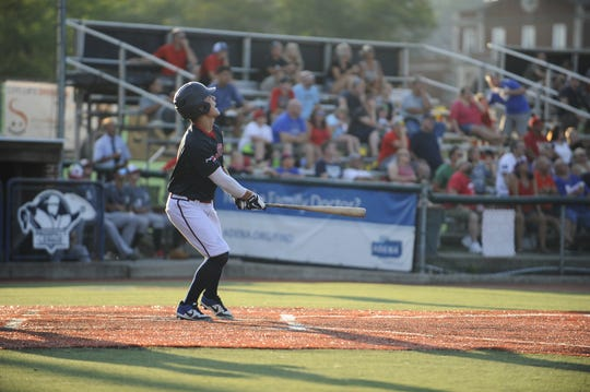 Chillicothe Paints infielder Gavin Homer watches a hit ball in a 6-2 loss to the Danville Dans at VA Memorial Stadium in Chillicothe, Ohio on August 4, 2019.