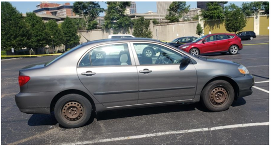 Betts' car, found in a parking lot a few blocks away from where the shooting occured.