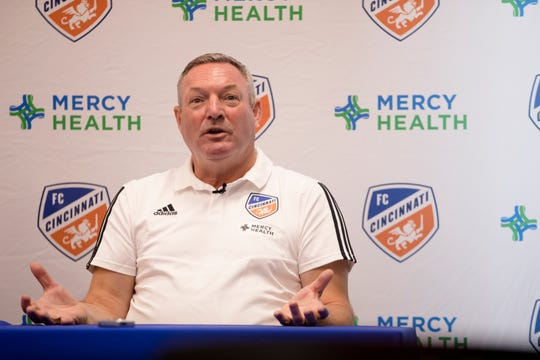 FC Cincinnati head coach Ron Jans speaks at his first press conference as FC Cincinnati's head coach on Monday, Aug. 5, 2019, in Milford.