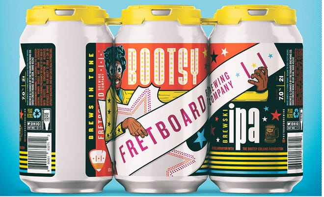 A six pack of Bootsy Brewski IPA from Fretboard