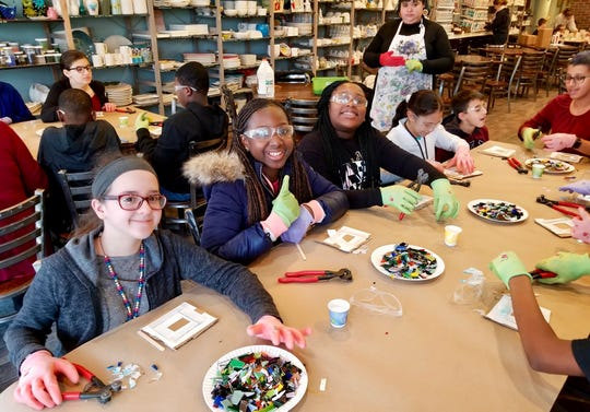 21st Century Community Learning Center students from Soehl Middle School in Linden visited the Fire Me Up art studio in Cranford in January for a glass-fusing class in which each made a picture frame.
