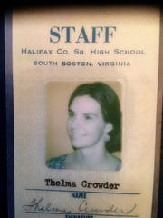 Thelma Crowder's ID badge for Halifax County High School. Crowder is grandmother to writer Courtney Crowder.