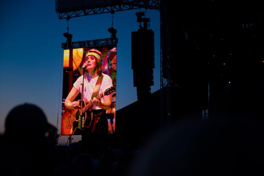 Three-time Grammy-winning singer-songwriter Brandi Carlile performs at Hinterland Music Festival on Sunday, Aug. 4, 2019, in St. Charles, Iowa.