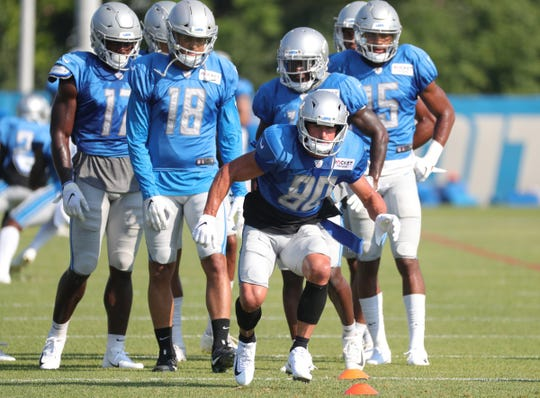 Lions receiver Danny Amendola runs a pass route during the joint practice on Monday, Aug. 5, 2019, in Allen Park.