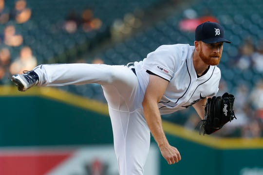 Tigers pitcher Spencer Turnbull throws against the Chicago White Sox in the first inning on Monday, Aug. 5, 2019, at Comerica Park.
