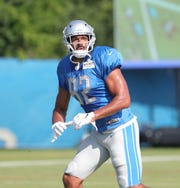 Lions tight end Logan Thomas catches passes during the joint practice on Monday, Aug. 5, 2019, in Allen Park.