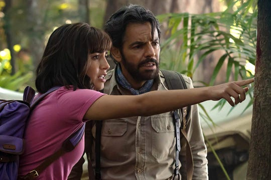 "Isabela Moner and Eugenio Derbez in ""Dora and the Lost City of Gold."""