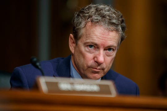 In this March 5, 2019 file photo, Sen. Rand Paul, R-Ky., pauses during a Senate Committee on Health, Education, Labor, and Pensions hearing on Capitol Hill in Washington.