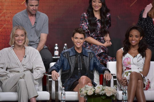 """Rachel Skarsten, from left, Ruby Rose and Meagan Tandy participate in The CW """"Batwoman"""" panel during the Summer 2019 Television Critics Association Press Tour at the Beverly Hilton Hotel on Sunday, Aug. 4, 2019, in Beverly Hills, Calif."""