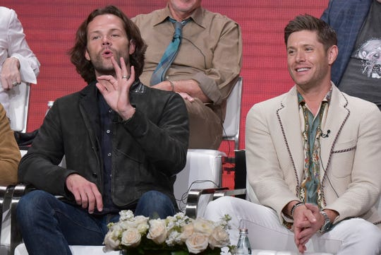 """Jared Padalecki, left, and and Jensen Ackles participate in The CW """"Supernatural: Final Season"""" panel during the Summer 2019 Television Critics Association Press Tour at the Beverly Hilton Hotel on Sunday, Aug. 4, 2019, in Beverly Hills, Calif."""