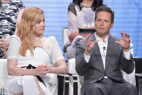 """Kennedy McMann, left, and Scott Wolf participate in The CW """"Nancy Drew"""" panel during the Summer 2019 Television Critics Association Press Tour at the Beverly Hilton Hotel on Sunday, Aug. 4, 2019, in Beverly Hills, Calif."""