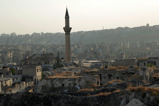 In this Saturday, July 27, 2019 photo, A general view shows the old city of Aleppo, Syria.
