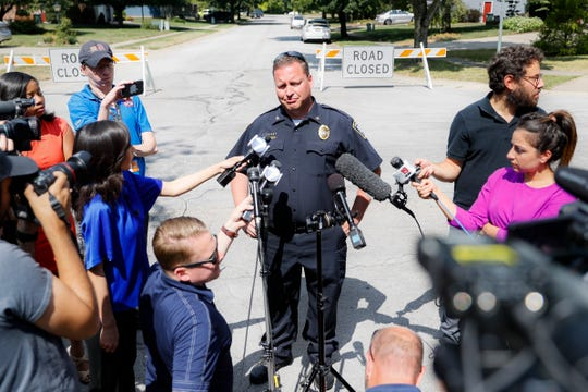 Bellbrook Police Chief Doug Doherty speaks to members of the media Monday, Aug. 5, 2019, on the street where Connor Betts had lived, in Bellbrook, Ohio.