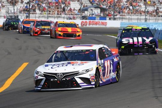Aug 4, 2019; Watkins Glen, NY, USA; Monster Energy NASCAR Cup Series driver Denny Hamlin (11) during the GoBowling at The Glen at Watkins Glen International. Mandatory Credit: Rich Barnes-USA TODAY Sports