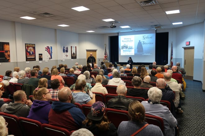 Local historian Mike Gilbert shares ghost stories with a packed auditorium during one of last year's History Roundtable session. This year, Gilbert is back with new stories, ranging from urban legends to Native American Chief Tecumseh, in six sessions.