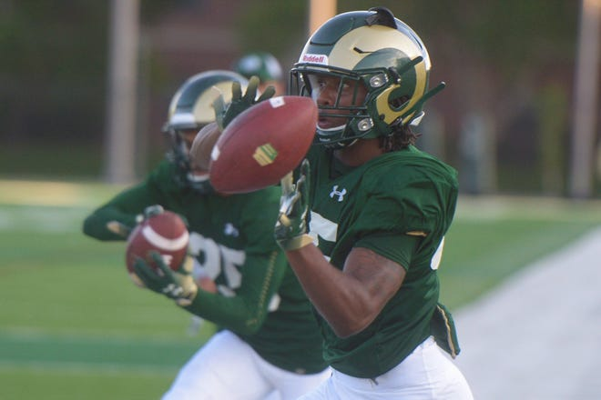 CSU football cornerback Brandon Crossley goes through drills during practice outside Canvas Stadium on Monday, Aug. 5, 2019.