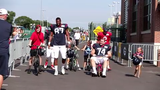 Before a joint training camp practice on Aug. 5, 2019, the Texans rode kids bikes from Lambeau Field to Clarke Hinkle Field.