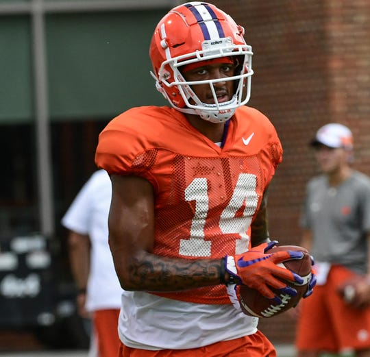 Clemson wide receiver Diondre Overton (14) during practice at the Allen N. Reeves Football Complex Monday, August 5, 2019.
