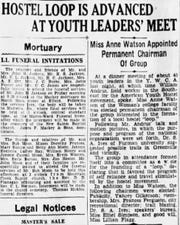 A March 3, 1939 Greenville News article detailing the formation of Greenville-area Youth Hostel Council