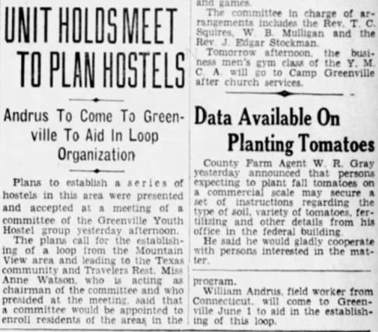 "A May 27, 1939 Greenville News article on the local youth hostel group's plan to ""establish a series of hostels"" in Greenville County."