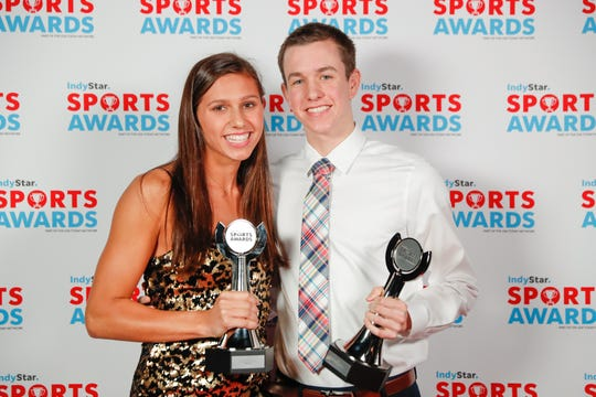 Carmel's Kelly Pash won IndyStar girls swimmer of the year and Carmel's Jake Mitchell won IndyStar boys swimmer of the year at the 2019 IndyStar Sports Awards at Clowes Memorial Hall.
