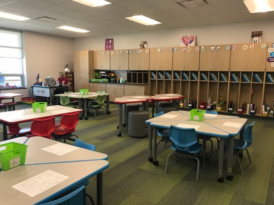 A classroom, with flexible furniture, at the new Walnut Grove Elementary School in Bargersville, Indiana.