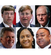Top left: Gubernatorial candidates Robert Foster, Tate Reeves and Bill Waller Jr. Bottom left: Jim Hood, Velesha P. Williams and Robert Shuler Smith.