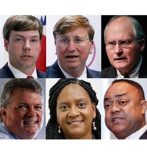 Top left: Gubernatorial candidates Robert Foster, Tate Reeves and Bill Waller Jr. Bottom left: Jim Hood, Velesha P. Williams and Robert Shuler Smith.