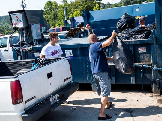 Bagged household garbage is dropped off at the Carter Convenience Center on Monday, Aug. 5, 2019.