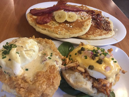 Pancakes and biscuits are decked out in toppings at Ruby Sunshine.