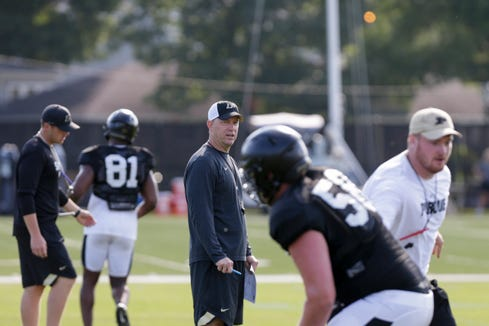 Purdue head coach Jeff Brohm calls out a play during practice, Saturday, Aug. 3, 2019 at Bimel Practice Complex in West Lafayette.