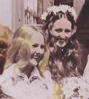 Copy photo of Karen Knight-Wilburn, left, and Nancy Brown in 1973.  The two of them attended the Woodstock concerts when they were 19 in 1969.   Aug. 5, 2019