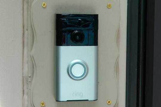 A Ring doorbell camera is shown at a home in Coon Rapids, Minn.