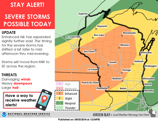 Severe thunderstorms are possible across a large portion of Wisconsin on Monday.