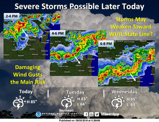 These images show the expected arrival time of strong to severe thunderstorms across Wisconsin on Monday.