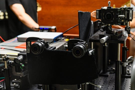 The detectors on the imaging system.  The two cameras in the center are used for calibration and documentation.
